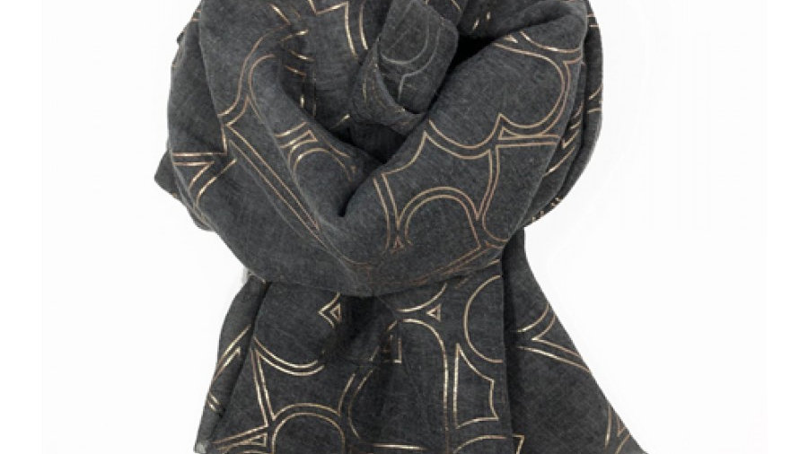 Charcoal Grey with Rose Gold Hearts Scarf