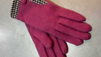 Fushcia Pink Wool Glove with DogTooth Trim