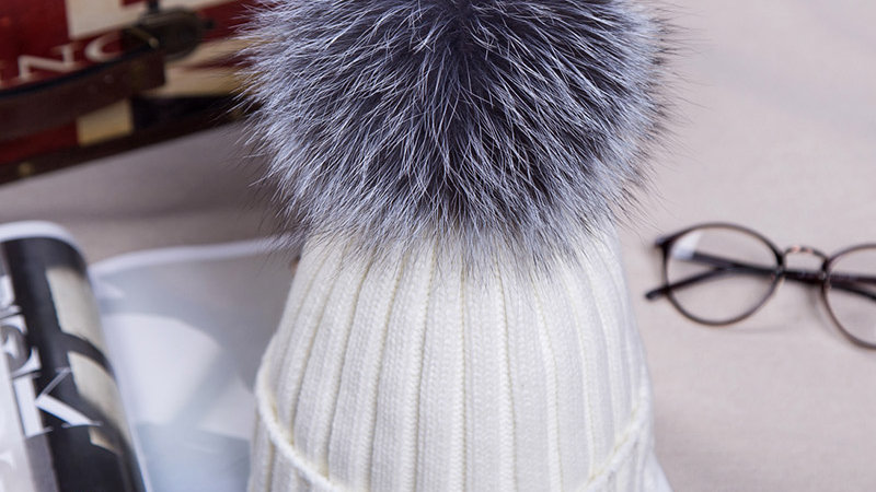 Knitted Beanie Hat with Faux Fur Pom Pom