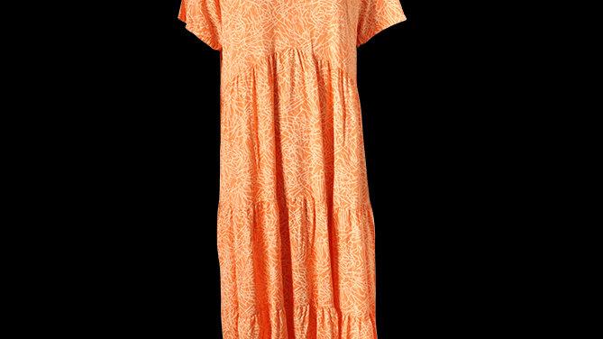 Tiered V Neck Summer Dress- Orange