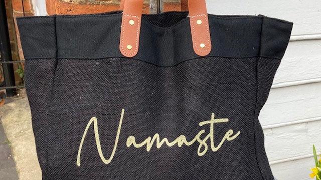 Namaste Black Jute Shopping Bag with Vegan Pleather Handles