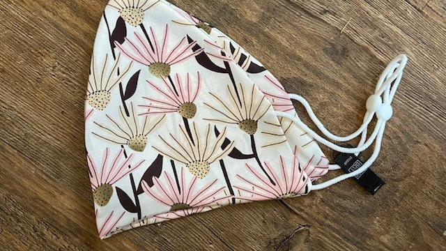 Pink Daisy Patterned Face Covering