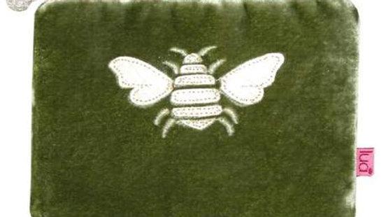 Olive Green Velvet Bee Coin Purse