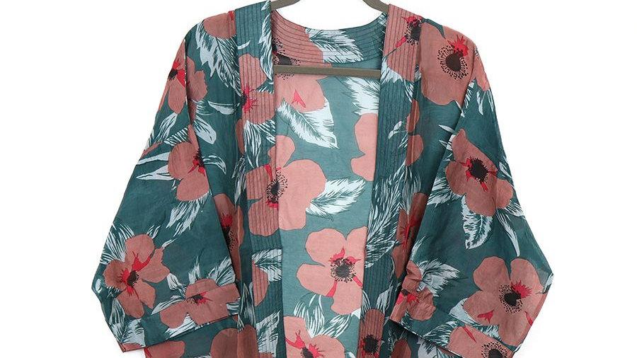 Green Floral Jacket Kimono