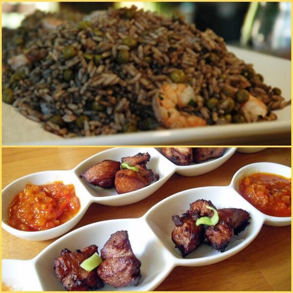 fried pork with black Haitian jonjon mix