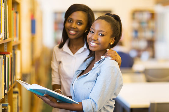 happy female african university students