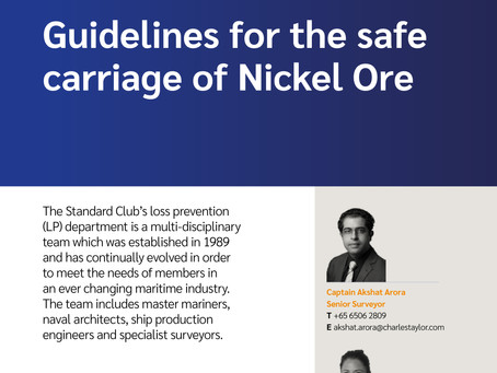 Guidelines for the safe carriage of Nickel Ore in the Philippines by Standard Club