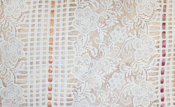 White lace over sheer metallic gold