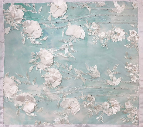 White with hand painted turquoise background