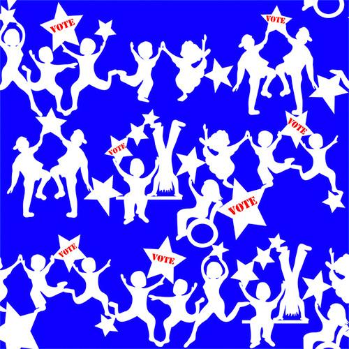 Vote children dancing blue