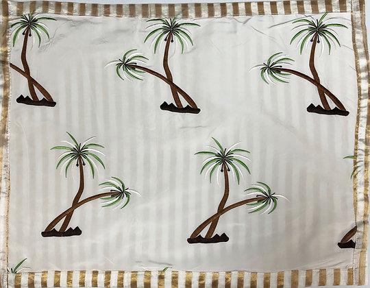 Palm trees on white silk, gold & white border