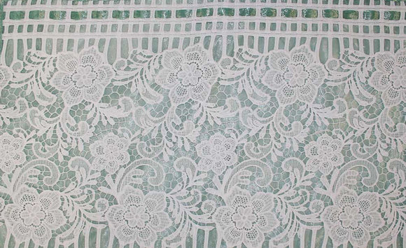 White lace and sheer metallic green