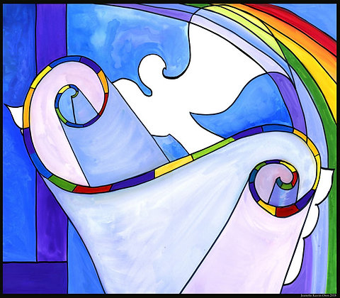 Torah with Dove and Rainbow