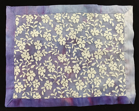 Challah Cover, Purple silk with white lace