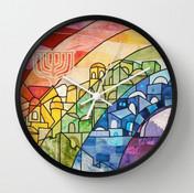 Jerusalem Rainbow wall clock