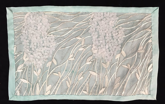 Challah Cover, green silk with white lace