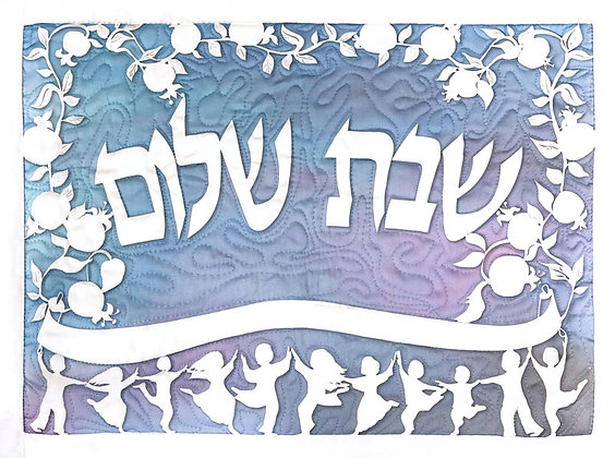 "Quilted papercut ""Shabbat Shalom"", blue"