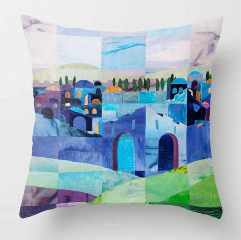 Jerusalem in Blue throw pillow