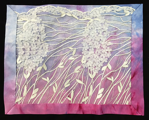 Challah Cover, Pink and purple silk with white lace