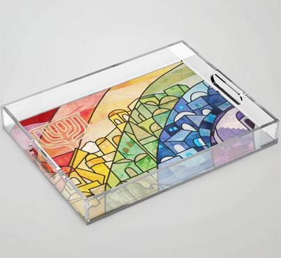 Rainbow Over Jerusalem acrylic tray