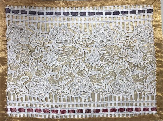 Challah Cover - gold organza, lace, purple trim