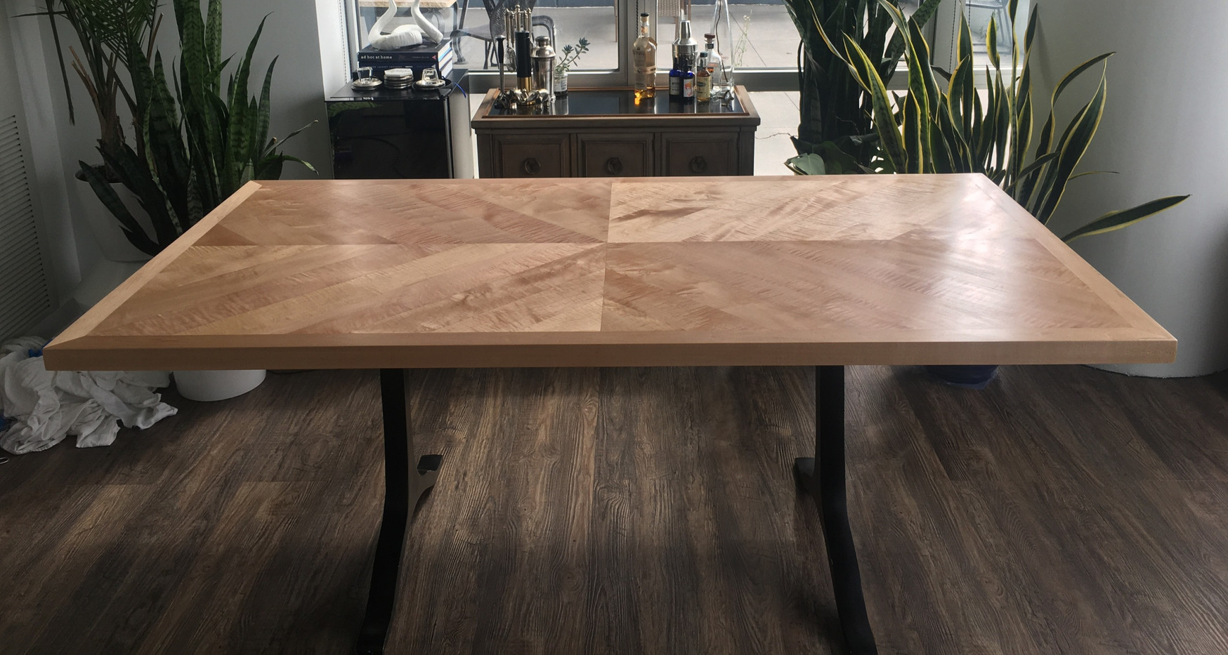 Maple table with repurposed legs