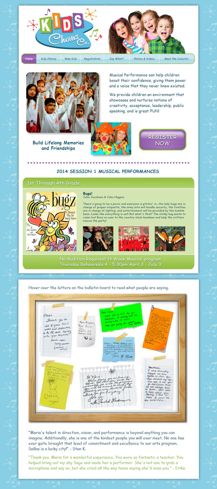 Kids Chorus Company Website Design