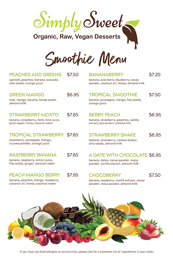 Simply Sweet Smoothie Menu