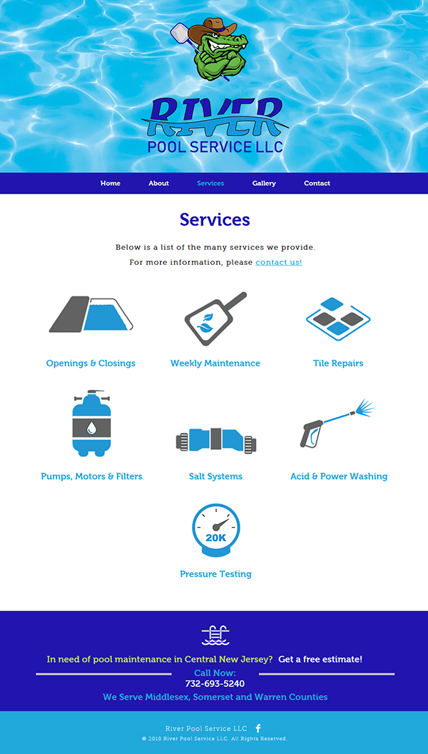 River Pool Services Website Design