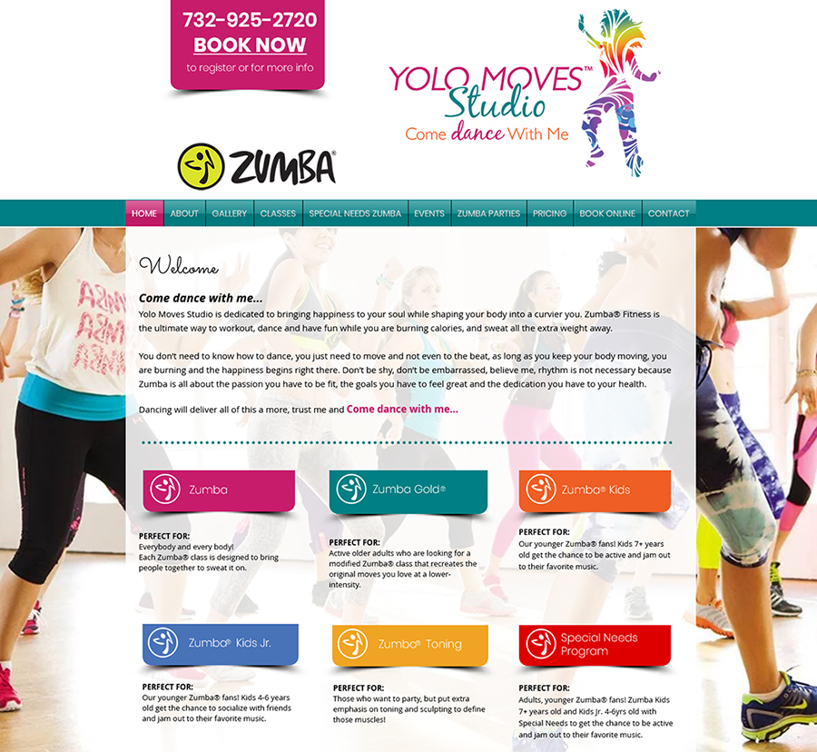 Yolo Moves Zumba Website Design