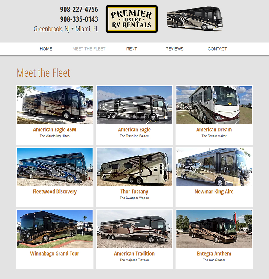 Premiere Luxury RV Website Design
