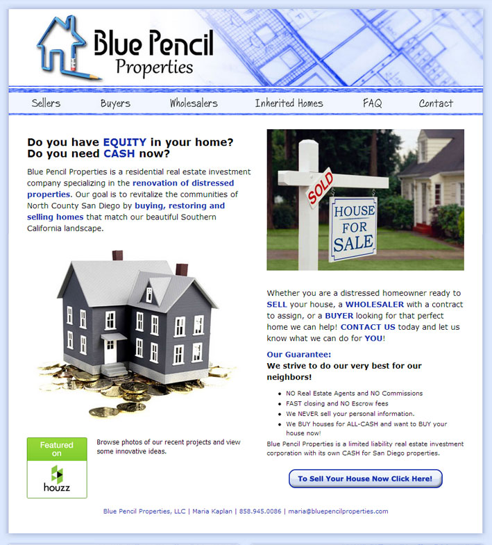 Blue Pencil Properties Website Desig