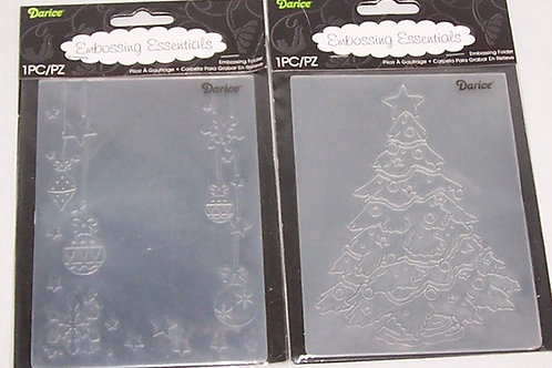 Two Darice Embossing Folder Christmas Tree Decorated Ornament Star Snowflake
