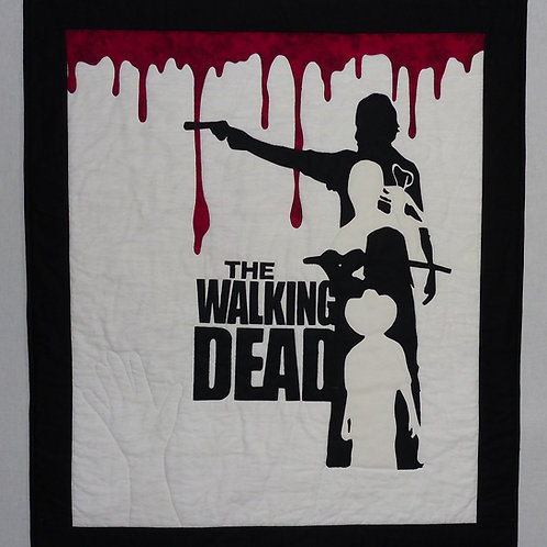 Handmade Walking Dead Art Quilt Wall Hanging Unique Quilted Rick Grimes Daryl