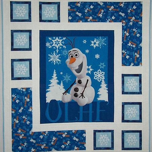 Handmade Frozen Olaf Quilt - Machine Pieced & Quilted