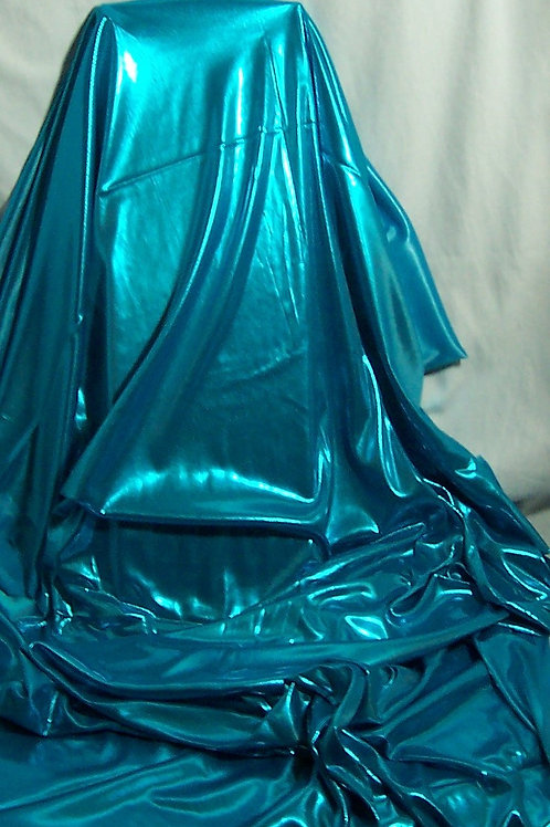 Metallic Foil Shiny Stretch Fabric Lingerie 2 Way Stretch Teal 2 Yards