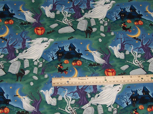 Northcott Harvest Moon Ghosts Tombstones Cats Halloween Fabric 1-1/2 Yards