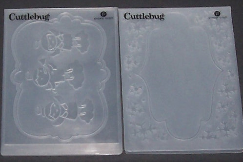 2 Cuttlebug Embossing Folders Christmas Holiday Angels + Snowflake Frame