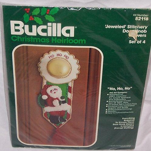 Bucilla Ho Ho Ho Kit 82118 Christmas Doorknob Covers Santa Jeweled Set of 4