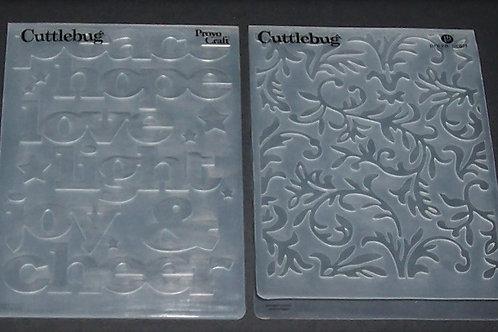 2 Cuttlebug Embossing Folders Hope Love Joy Cheer / Fancy Vines Scrapbooking