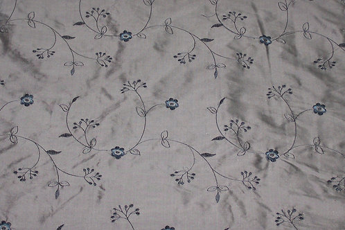 Embroidered Silk Dupioni By the Piece Silver 5-1/2 Yards
