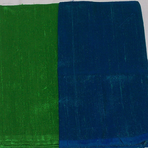 Silk Dupioni Two Pieces Green and Blue 2/3 Yd + 1/2 Yd