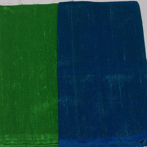 Silk Dupioni Two Pieces Green and Blue 2/3 Yd + 1/2 Yd