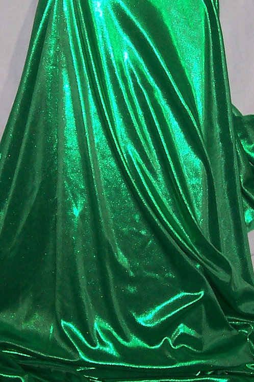 Metallic Foil Shiny Stretch Fabric Lingerie 2 Way Stretch Green 3 Yards