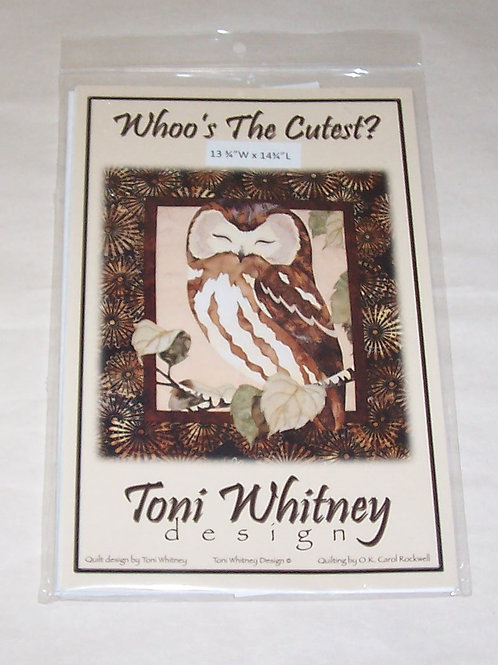 """Whoo's The Cutest? Toni Whitney Design Pattern Owl  13.75""""X14.75"""""""