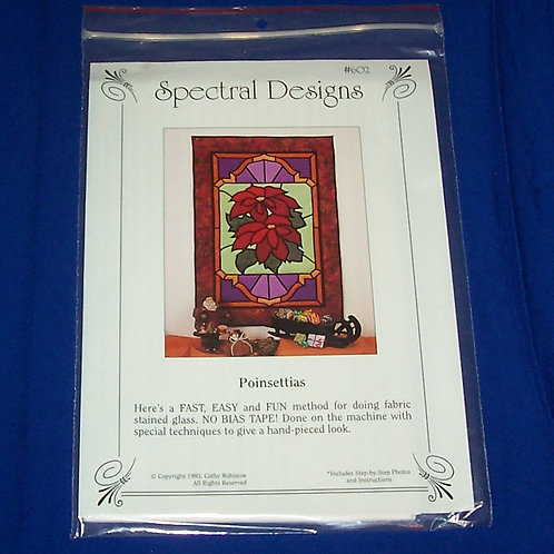 Spectral Designs Poinsettias Stained Glass Quilt Pattern Christmas