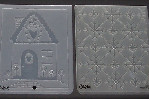 2 Sizzix Embossing Folders Christmas Holiday Gingerbread House Snowflakes