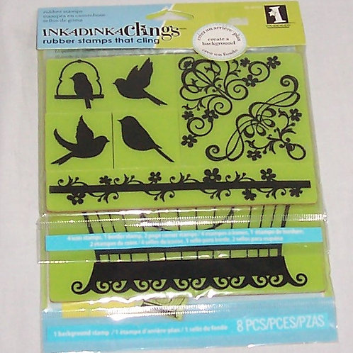 Inkadinkaclings Rubber Stamps 7 Pieces Bird Cage Cling Set Unmounted Backgro