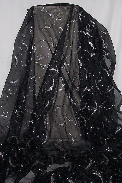 Sheer Costume Fabric By the Piece Black with Silver Glittery Designs 7 Yards