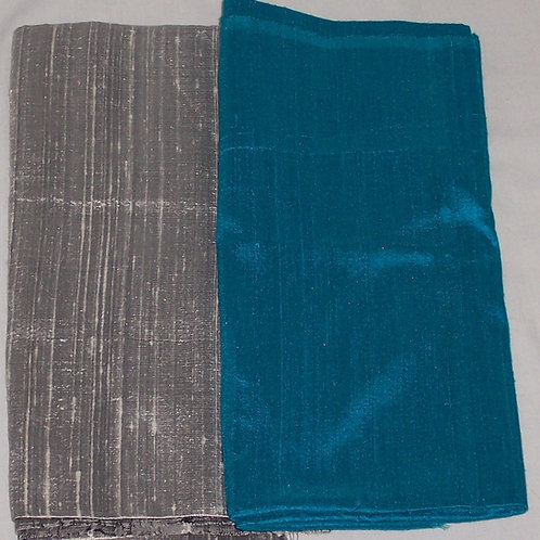 Silk Dupioni Two Pieces Blue and Silver Each 1/2 Yard - 1 Yard Total